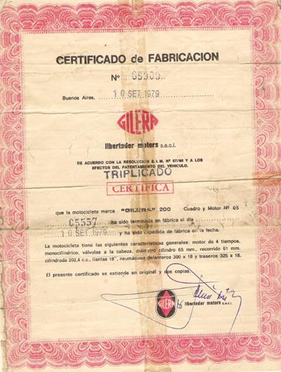 Certificado Gilera 200 Macho