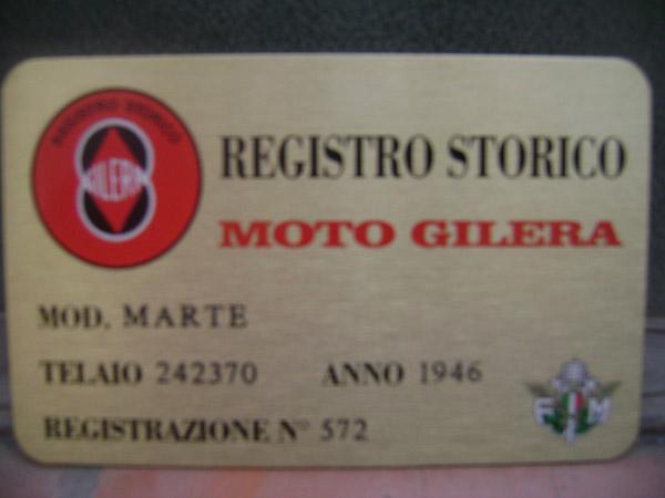 Registro Moto Gilera